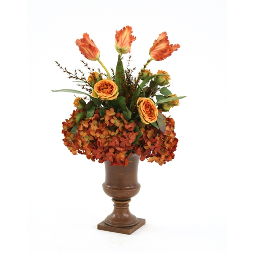 Rust Burgundy Parrot Tulips & Rust Gold Hydrangeas in Urn