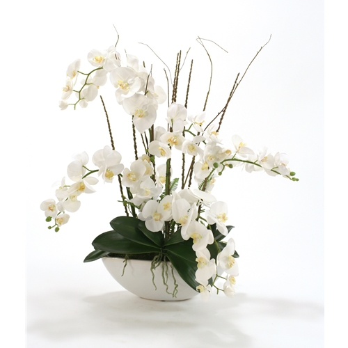 Silk White Cymbidium Orchids In A Large White Oval Planter