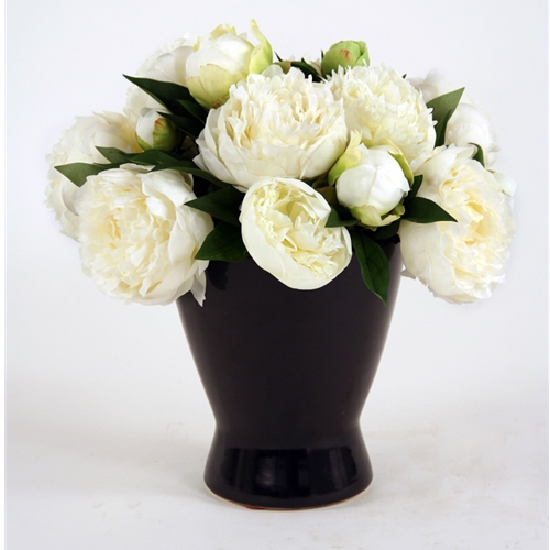 Silk White Peony Bouquet in a Matte Black Zen Vase | Free Shipping on zen clock, zen baskets, zen dog, zen bedroom, zen design, zen table, zen plant, zen planter, zen painting, zen horse, zen stool, zen home accessories, zen tile, zen spring, zen furniture, zen teapot, zen radio, zen sculpture, zen bouquet, zen ring,