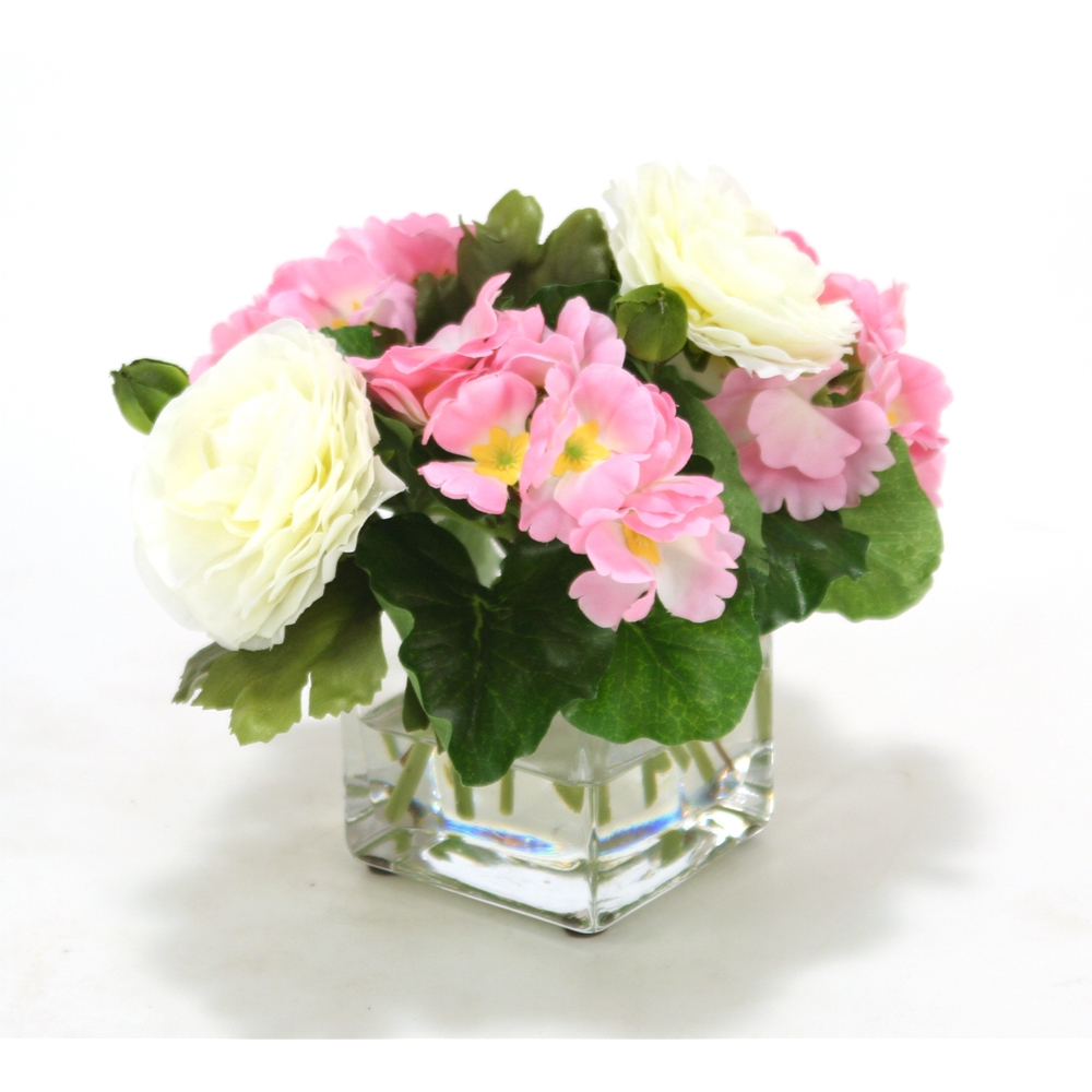 Small Pink Primrose And White Ranunculas In Square Glass Vase Pack