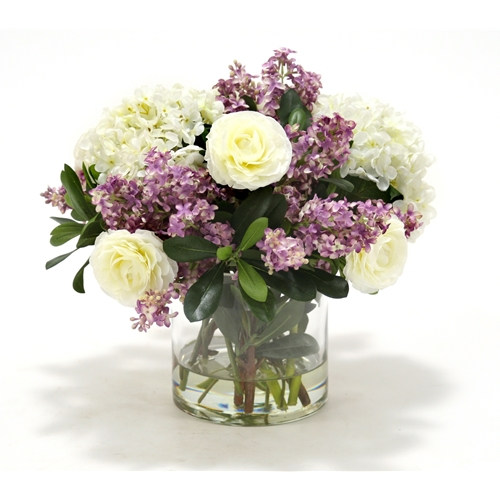 Waterlook ® Cream White Hydrangeas and Lilac Lilacs with Greenery in Cylinder Vase