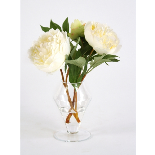 Waterlook large silk white peonies in a small glass ginger jar mightylinksfo