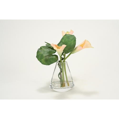 Waterlook Light Pink Calla Lily Silk Floral Arrangement In Clear
