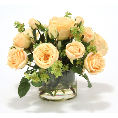 Waterlook ® Light Yellow Silk Roses with Green Accents in a Short Glass Cylinder