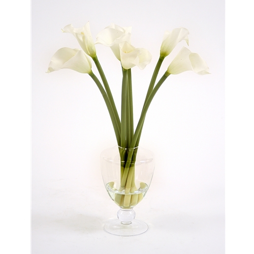 Waterlook Miniature Silk Ivory Calla Lilies In A Footed Glass Urn