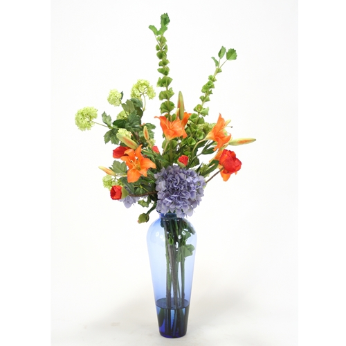 Waterlook 174 Mixed Blue Orange And Green Silk Floral