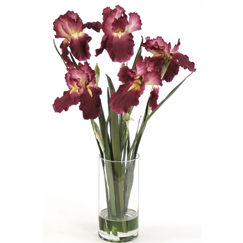 Waterlook ® Silk Amethyst Iris with Blades in a Glass Cylinder Vase