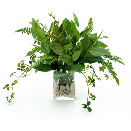 waterlook ® silk bay leaf foliage, ferns and willow in a small glass
