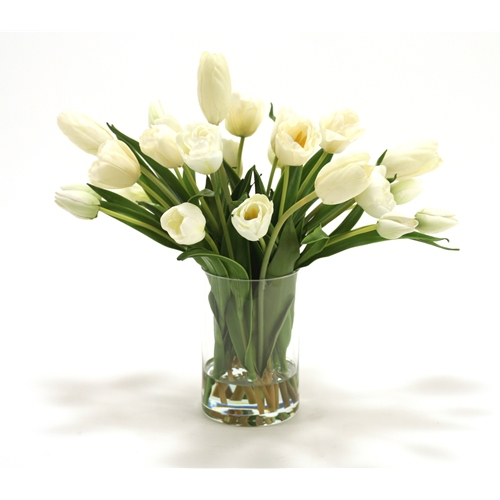 Waterlook ® Silk Cream White Stage Tulips in a Glass Cylinder