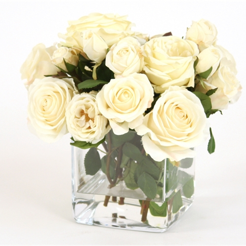 Waterlook ® Silk Ivory Roses in a Glass Square