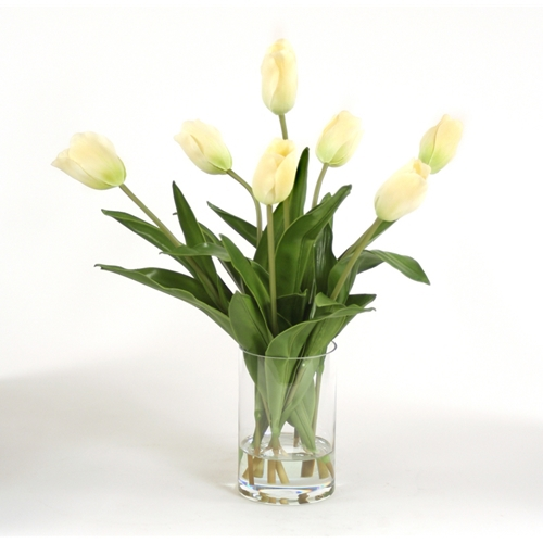 Waterlook ® Silk Ivory Tulips in a Glass Cylinder