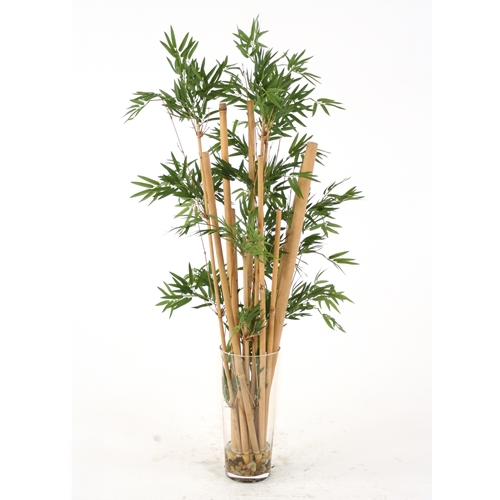 Waterlook Silk Leafy Bamboo In A Tall Glass Floor Vase Free