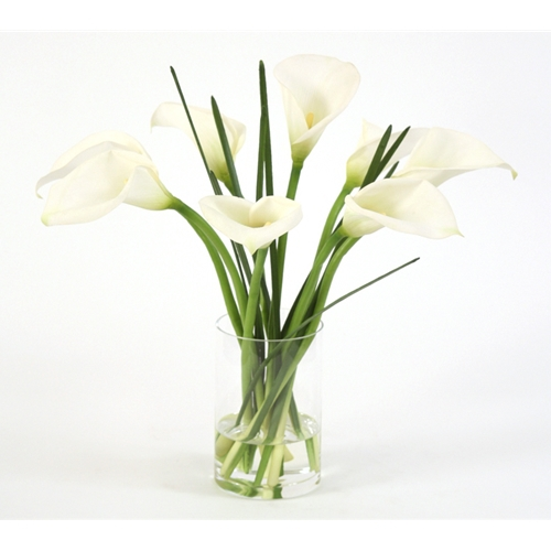 Waterlook Silk White Calla Lilies With Blades In A Glass Cylinder
