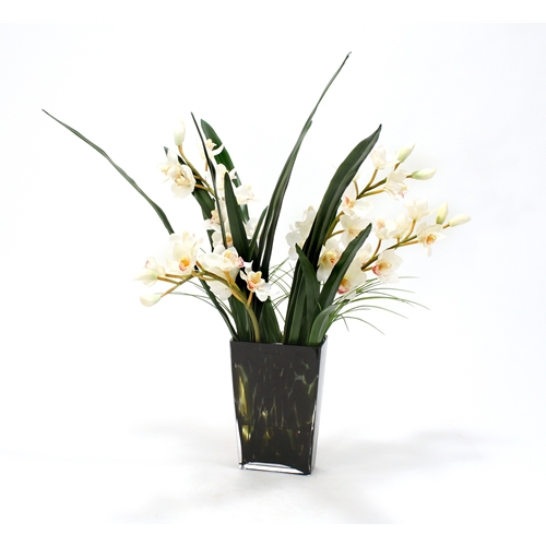 Waterlook White Orchids In Spotted Leopard Glass Vase Free