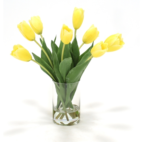 Waterlook ® Yellow Dutch Tulips in Clear Glass Cylinder Vase