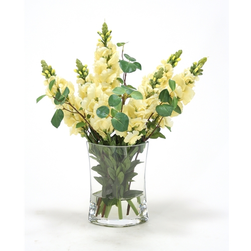 Waterlook Yellow Snapdragon Silk Floral Arrangement In Clear