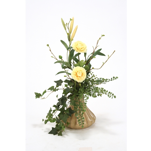 Yellow Silk Floral Ranunculus Arrangement And Assorted Greenery In
