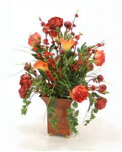 Rust Red Peonies, Calla Lillies, Ivy and Grass in a Large Square Tole Planter