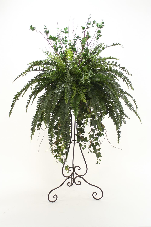 silk boston fern arrangement floor plant in plant stand | free