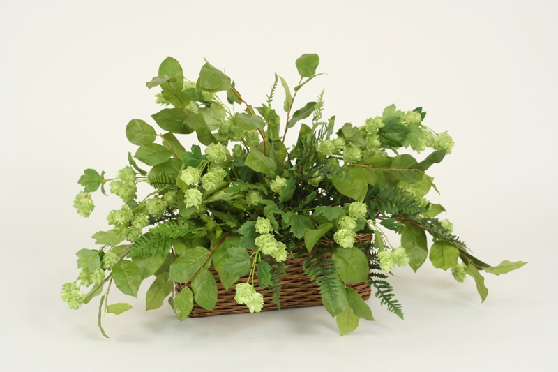 Silk Hops, Marsh Fern and Lemon Leaf Floor Plant in Basket
