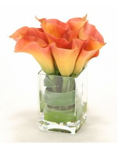 Waterlook (R) Calla Lilies w/ Tocca Orchid Leaf in Square Vase