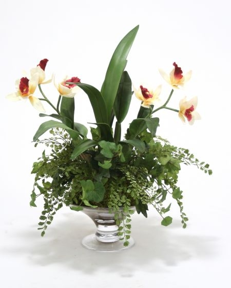 Waterlook (R) Cattleya Orchid Garden in Round Glass Compote