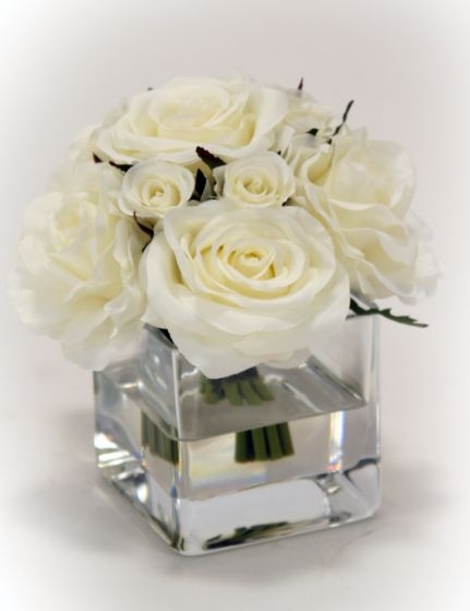 Waterlook R Cream White Rose Bouquet In Glass Square Vase Free