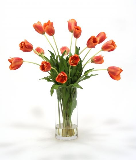 Waterlook (R) Dark Orange Red Tulips In Cylinder Vase