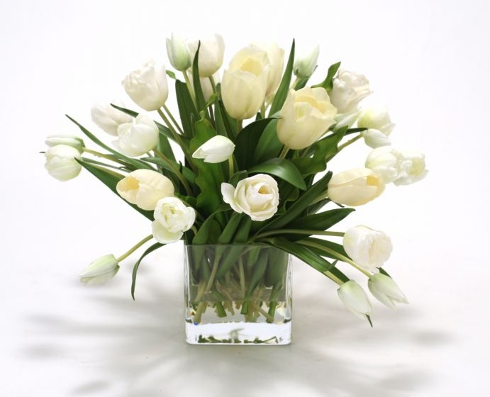 Waterlook (R) Elegant Cream White Tulips In Glass Cube