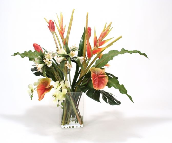 Waterlook (R) Heliconia, Antherium Tropical Mix in Rectangular Glass Vase