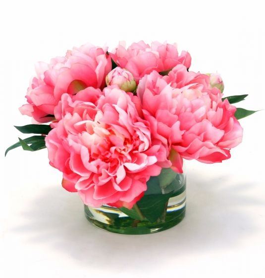 Waterlook R Hot Pink Peonies In Round Glass Vase Free Shipping