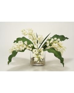 Waterlook (R) Mini Orchids, Tropical Leaves in Rectangular Vase w/ White Rocks