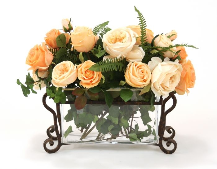 Waterlook(R) Peach and Champagne Roses in Rectangle Glass Planter with Optional Metal Stand