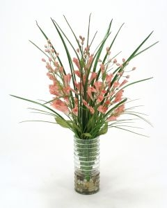 Waterlook (R) Pink Foxglove, Grass in Green Glass Vase