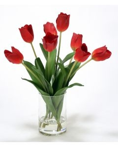 Waterlook (R) RED TULIPS IN CYLINDER VASE