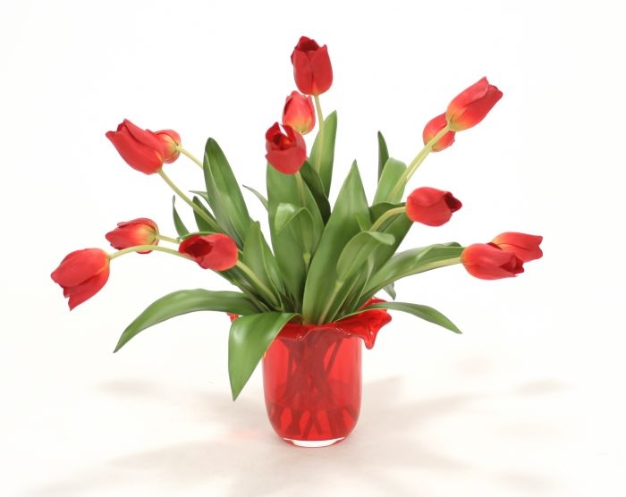 Waterlook (R) Red Tulips In Red Glass Vase