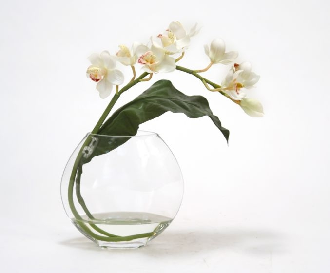 Waterlook (R) White Cymbidium Orchid with Tropical leaf in Disk vase