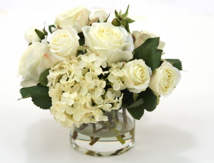 Waterlook Silk Cream White Roses And Hydrangeas In A Short Vase
