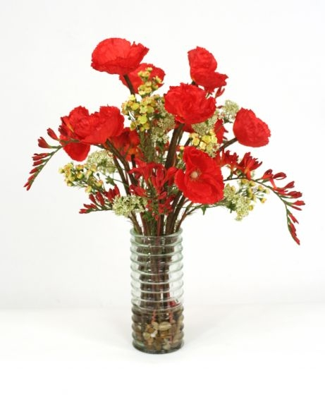 Waterlook (R) Red Poppies And Greenery In Green Ribbed Cylinder Vase