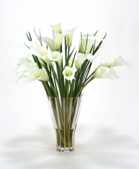 Waterlook (R) White Calla Lilies In Tall Fluted Vase