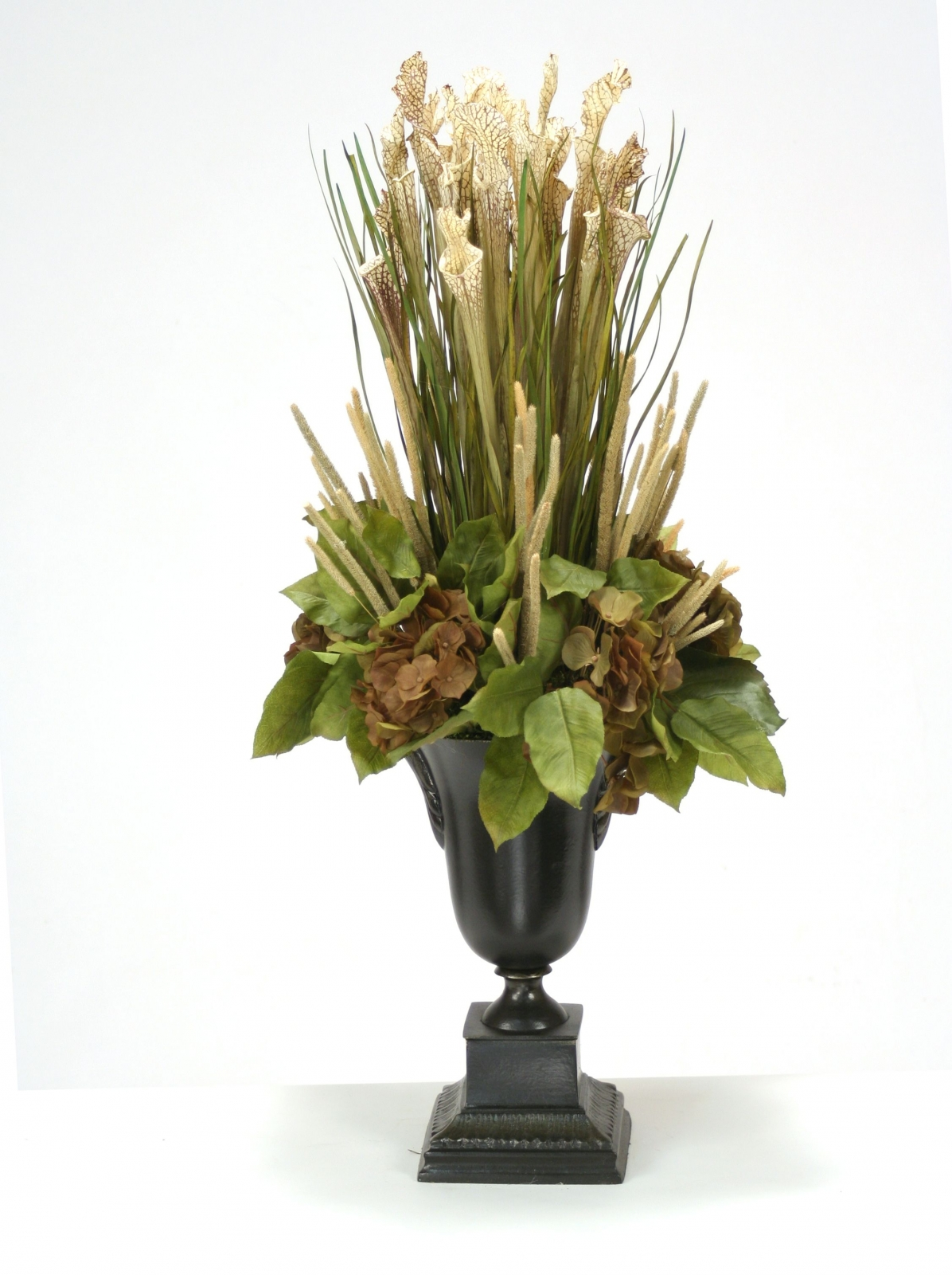 Natural Sarracenia, Grass, Millet and Hydrangeas in Metal Urn