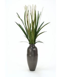 Cymbidium Foliage with Reeds in Hand Hammered Black Antique Vase