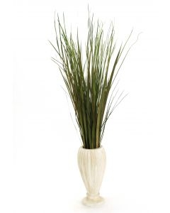 Mixed Grasses in Fluted Aged White Vase