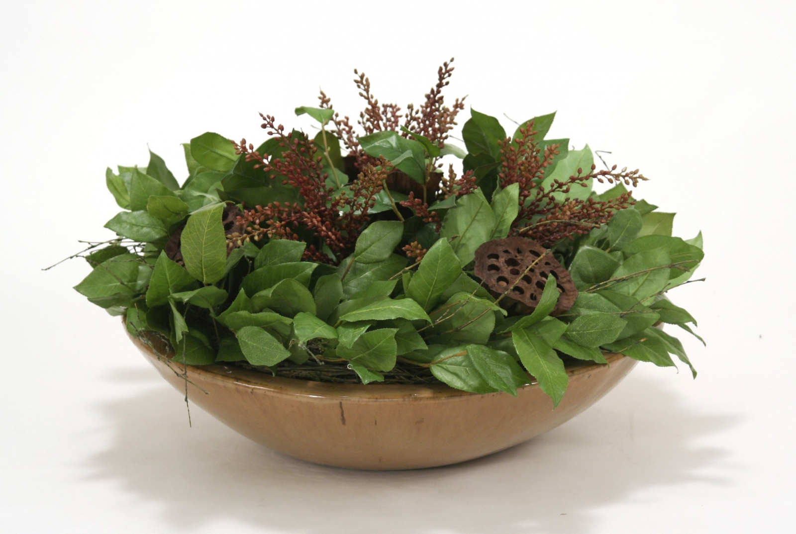 Lemon Leaves with Berries and Natural Pods in Round Stoneware Bowl