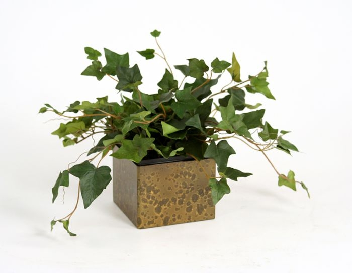Silk Hedera Ivy in a Ribbed Aged Metal Planter