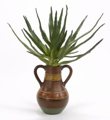 Faux Agave Plant in Southwestern Designed Navajo Jar with Handles