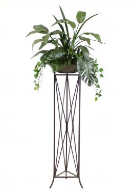 Silk Tropical Foliage in Large Stone Finish Bowl in an Isosceles Plant Stand