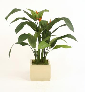 Silk Heliconia Leaf Floor Plant in Square Ivory-Glazed Stoneware