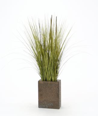 Silk Sage Green Grass Mix in Large Bronze Rectangle Vase