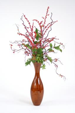 Berries, Branches and Foliage in Stained Flared Wood Vase